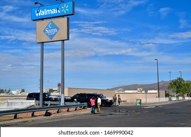 El Paso, Texas / USA - Circa August 2019 Police and Highway patrol blocking all entrances to Walmart, scene of the 3 August mass shooting in El Paso, Texas.