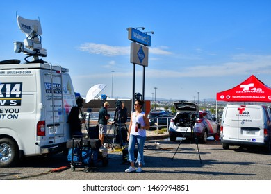 El Paso, Texas / USA - Circa August 2019 Media gathering near the Cielo Vista Walmart, scene of a mass shooting on 3 August 2019.