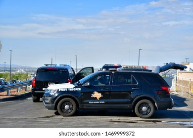 El Paso, Texas / USA - Circa August 2019 Police and Highway patrol cars blocking all entrances to the Cielo Vista Walmart, scene of the 3 August 2019 mass shooting.