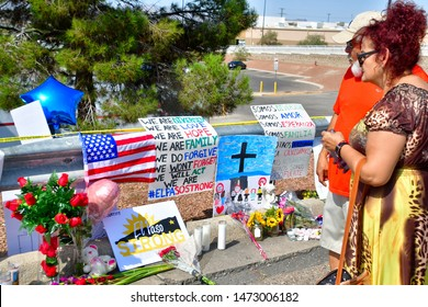 El Paso, Texas / USA - Circa August 2019  Flowers, posters, toys and other memorabilia  left by an shocked supporters of the victims of the Walmart shooting on 3 August 2019. Gun control not speeches