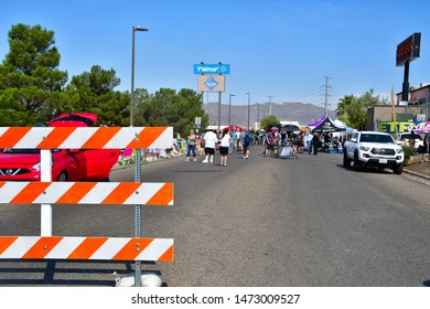 El Paso, Texas / USA - Circa August 2019  Street leading up to the impromptu memorial site of the 3 August mass shooting in a Walmart store at Cielo Vista mall.