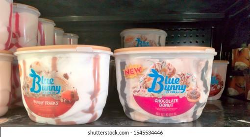 El Paso, Texas / USA: Circa October 2019 Blue Bunny ice cream in handy reusable plastic containers.