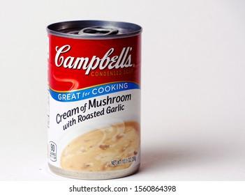 El Paso, Texas / USA: Circa November 2019 Campbell's can of Cream of Mushroom with roasted garlic.