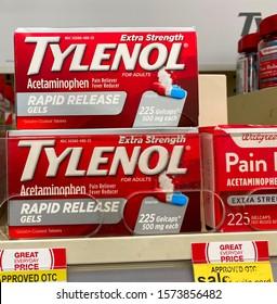 El Paso, Texas / USA: Circa November 2019 Tylenol displayed on a grocery store shelf.