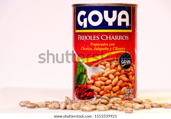 El Paso, Texas / USA: Circa November 2019 Can of Goya brand  pinto beans.