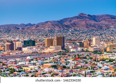 El Paso, Texas, USA  downtown city skyline at twilight.
