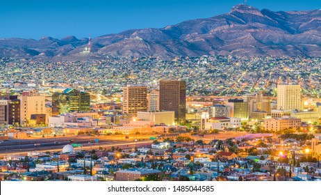 El Paso, Texas, USA  downtown city skyline at dusk with Juarez, Mexico in the distance.