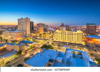 El Paso, Texas, USA downtown cityscape at dusk.
