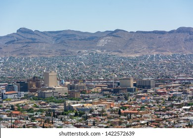 El Paso, Texas, USA / May 24, 2019: El Paso skyline from the Scenic Drive Overlook. El Paso stands on the Rio Grande across the Mexico–United States border from Ciudad Juárez.