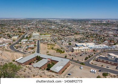 El Paso, Texas, USA / May 24,2019: El Paso skyline from the Scenic Drive Overlook. El Paso stands on the Rio Grande across the Mexico–United States border from Ciudad Juárez.