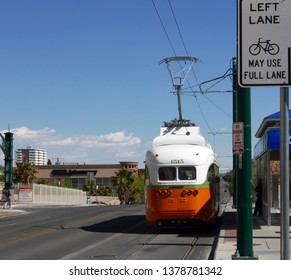 El Paso, Texas/USA - April 18, 2019: Refurbished streetcar in 1950s style
