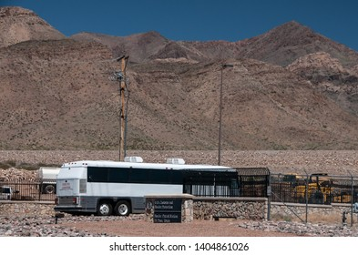 El Paso TX 5/21/19 El Paso Border Patrol Station: A bus arrives at the gate for the new temporary housing and processing center carrying asylum seekers