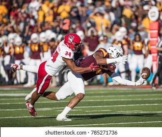 EL PASO, TX – DECEMBER 29.  Wide Receiver N'Keal Harry making a spectular catch during the North Carolina State Wolfpack v Arizona State Sun Devils, Hyundai Sun Bowl in El Paso, Texas – 29 Dec 2017