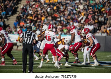 EL PASO, TX – DECEMBER 29.  QB Ryan Finley passing during the North Carolina State Wolfpack v Arizona State Sun Devils, Hyundai Sun Bowl in El Paso, Texas – 29 Dec 2017