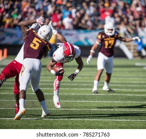 EL PASO, TX – DECEMBER 29.  Nyheim Hines carrying the ball during the North Carolina State Wolfpack v Arizona State Sun Devils, Hyundai Sun Bowl in El Paso, Texas – 29 Dec 2017