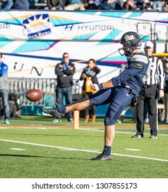 EL PASO, TX – DECEMBER 31.  Pitt's Christodoulou punts the ball during the Sanford v Pitt, Hyundai Sun Bowl in El Paso, Texas – 31 Dec 2018
