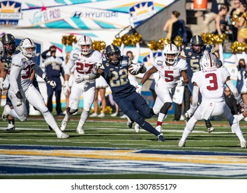 EL PASO, TX – DECEMBER 31.  Pitt's Hall finding a hole during the Sanford v Pitt, Hyundai Sun Bowl in El Paso, Texas – 31 Dec 2018
