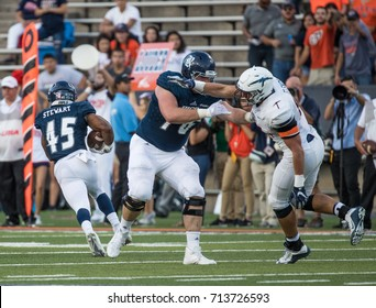 EL PASO, TX – SEPTEMBER 9.  Stewart with the ball during the University of Texas at El Paso Miners v Rice University Owls at the Sun Bowl in El Paso, Texas – 9 September 2017