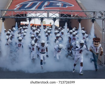 EL PASO, TX – SEPTEMBER 9.   UTEP players leaving the tunnel just before the University of Texas at El Paso Miners v Rice University Owls at the Sun Bowl in El Paso, Texas – 9 September 2017