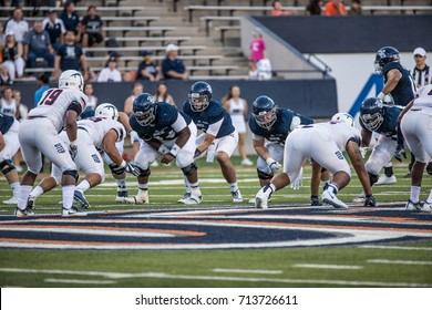 EL PASO, TX – SEPTEMBER 9.  Glaesmann takes the snap during the University of Texas at El Paso Miners v Rice University Owls at the Sun Bowl in El Paso, Texas – 9 September 2017
