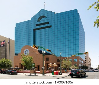 El Paso, TX / USA: ca. June 2018: The El Paso County Courthouse has a modern style with sky-blue reflective glass. The building houses the Eight Court of Appeals on the twelfth story.