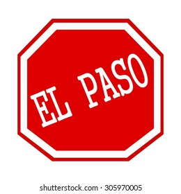 EL PASO white stamp text on red octagon