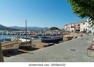 El Port de la Selva, Catalonia, Spain on July 5, 2021. The fishing harbor.