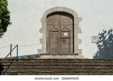 El Port de la Selva Girona Catalonia Spain the parish church entrance on July 2021