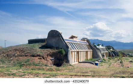 El PRADO, NM, USA-  MAY 30, 2016: Earthship Biotecture - Radically Sustainable Buildings