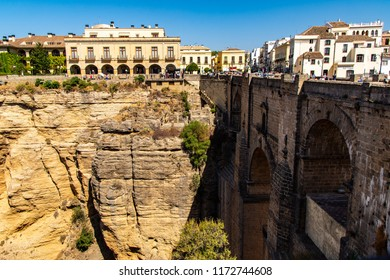 """El Puente Nuevo"" (The New Bridge) in Ronda, Malaga. The old and the new town linked by a bridge on a chasm. Ronda is a beautiful town close to Malaga in Andalucia, Spain."