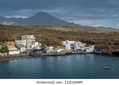 El Puertito fishing village and beautifel small bay with sand beach. Tenerife, Canary islands.