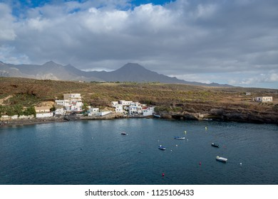 El Puertito town and sand beach at beautifel bay, Tenerife, Canary islands.