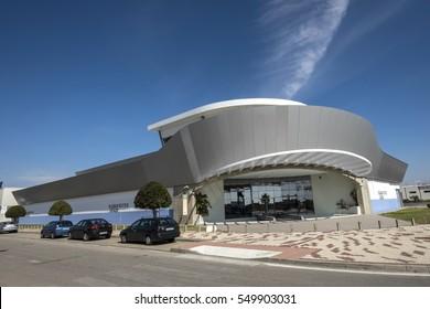 EL PUERTO DE SANTA MARIA, ANDALUSIA, SPAIN - FEBRUARY 2015: One of the buildings in the modern industrial park Las Salinas.