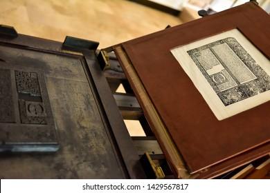 El Puig, Spain: 01.25.2019; The old metal matrix and print page
