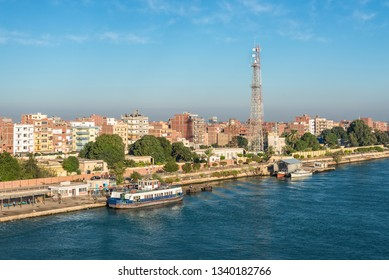 El Qantara, Egypt - November 5, 2017: View of the city El Qantara (Al Qantarah) on the shore of the Suez Canal located in the Egyptian governorate of Ismailia, 50 km south of Port Said.