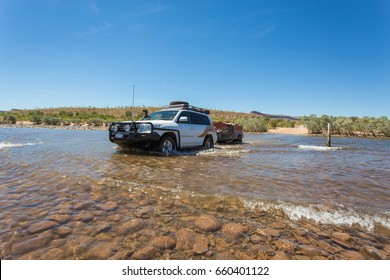El Questro,Australia - Sep 9 2014: Hire four wheel drives & off road camper trailers are popular touring & accomodation options for European tourists that traverse the iconic Gibb River Road each year