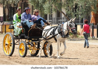 EL ROCIO, ANDALUSIA, SPAIN - MAY 27: Pilgrims, people with mule drawn carriage, attend traditional pilgrimage - Romeria in el Rocio on May 27, 2012 in El Rocio, Andalusia, Spain.