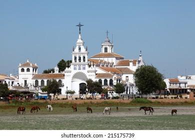 EL ROCIO, SPAIN - JULY 6: The Hermitage of El Rocio (Ermita del Rocio or Ermita de El Rocio). July 6, 2012 in Almonte, Province of Huelva, Andalusia, Spain