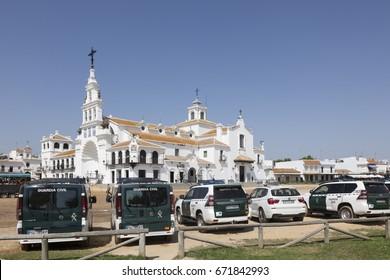 El Rocio, Spain - June 2, 2017: Police cars in front of the hermitage in El Rocio during the Romeria 2017. Andalusia, Spain