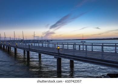El Rompido marina footbridge at sunset, Cartaya, Huelva, Spain