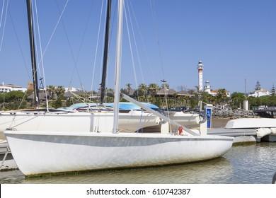 El Rompido marina and town seen from River Piedras water, Huelva, Cartaya, Spain