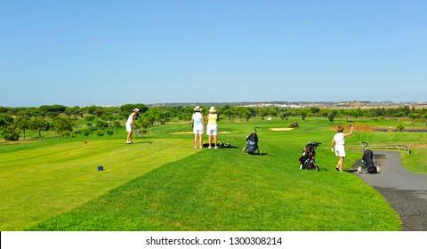 El Rompido, Spain - Sept 6, 2010: Women playing golf in El Rompido golf course, Huelva province, Spain