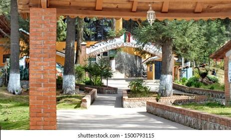 El Rosario, Michoacan, Mexico, January 14, 2015: Main entrance and buildings at El Rosario Monarch Butterfly Preserve in Michoacan, Mexico.  El Rosario is the most popular Monarch reserve in Mexico.