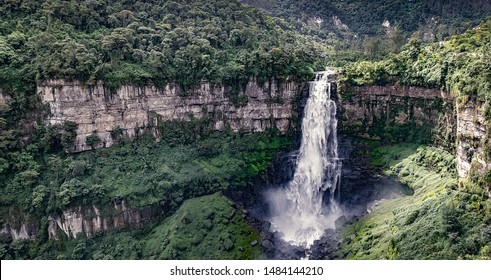 El Salto de Tequendama, one of the most imposing waterfalls in Colombia, fed by the polluted Bogota river