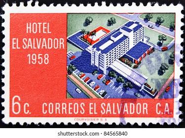 EL SALVADOR - CIRCA 1958: A stamp printed in Salvador shows Hotel El Salvador, circa 1958
