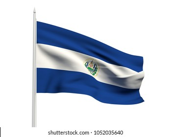 El Salvador flag floating in the wind with a White sky background. 3D illustration.