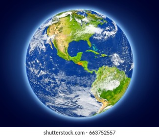 El Salvador highlighted in red on planet Earth. 3D illustration with detailed planet surface. Elements of this image furnished by NASA.