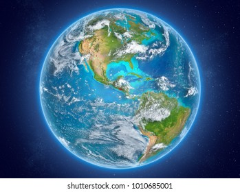 El Salvador in red on model of planet Earth with clouds and atmosphere in space. 3D illustration. Elements of this image furnished by NASA.