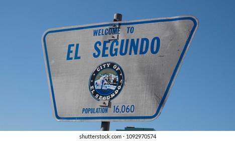 El Segundo, California, USA, May 17, 2018. Public Sign for the city of El Segundo in Los Angeles County California.