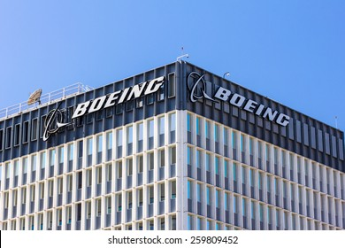 EL SEGUNDO, CA/USA - MARCH 7, 2015: Boeing manufactuing facility. Boeing manufactures and sells aircraft, rotorcraft, rockets and satellites. It is the second-largest defense contractor in the world.